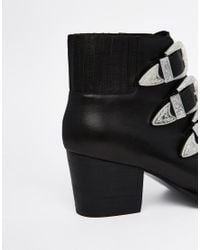 ASOS - Black Rebel Leather Western Ankle Boots - Lyst