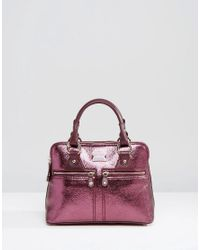 Modalu | Micro Pippa Leather Grab Bag - Claret Red Met | Lyst