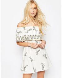 ASOS - Multicolor Off Shoulder Embroidered Sundress - Lyst