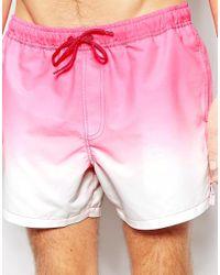 ASOS - Short Length Swim Shorts In Pink Dip Dye - Pink for Men - Lyst