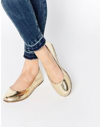 ASOS - Metallic Line Up Ballet Flats - Lyst