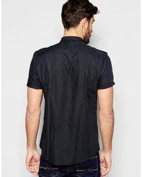 ASOS - Military Shirt In Black In Regular Fit for Men - Lyst