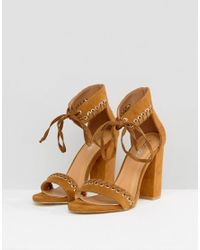 Boohoo - Brown Whipstitch Heeled Sandal - Lyst