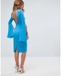 ASOS - Blue Extreme Split Sleeve Scuba Crepe Midi Dress - Lyst