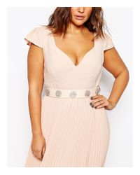ASOS - Pink Curve Brooch Detail Embellished High Waist Belt - Lyst