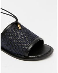 ASOS - Black Fetch Leather Tie Leg Sandals - Lyst
