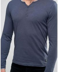 Blend - Long Sleeve Grandad Top Blue Nights for Men - Lyst