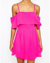 ASOS - Blue Cold Shoulder Mini Dress - Lyst