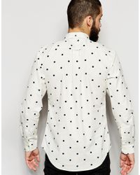 Farah - White Shirt With Polka Dot Slim Fit for Men - Lyst