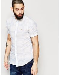 Farah - White Shirt With Printed Check Slim Fit Short Sleeves for Men - Lyst