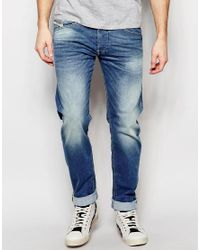 DIESEL | Jeans Belther 850w Slim Tapered Fit Stretch Mid Blue Wash for Men | Lyst