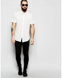 Farah - Multicolor Shirt In Pique Cotton Short Sleeves Slim Fit for Men - Lyst