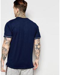 Ellesse - Black T-shirt With Shoulder Piping for Men - Lyst