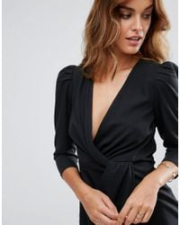 ASOS - Black Wrap Front Mini Dress - Lyst