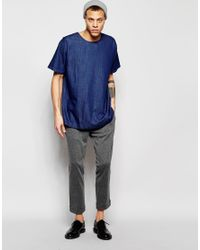 WÅVEN - Denim T-shirt Magnus Crew Neck Torkel Blue Dark Wash for Men - Lyst