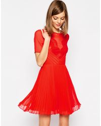 ASOS | Red Lace And Pleat Skater Mini Dress | Lyst