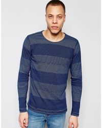 Nudie Jeans | Blue Nudie Long Sleeve Top Orvar Indigo Jaquard Mix Block Stripe In Indigo for Men | Lyst