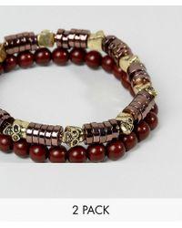 ASOS - Brown Beaded Bracelet Pack With Skull Detail for Men - Lyst