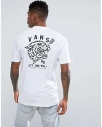 c4378469b0e735 Vans Tongue Tied T-shirt With Back Print In White Va36fpwht in White ...