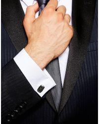 Emporio Armani - Black Eagle Cufflinks In Carbon Fibre for Men - Lyst