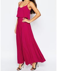 ASOS | Red Pleated Maxi With Crop Top | Lyst