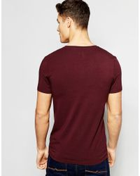 ASOS - Muscle T-shirt With V Neck In White And Oxblood Save 17% for Men - Lyst