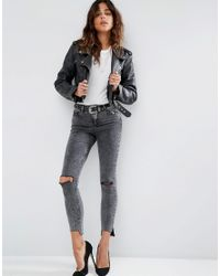 ASOS - Multicolor Ridley Skinny Jeans In Black Acid With Extreme Busts And Stepped Hem - Lyst