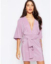 ASOS - Pink Plisse Pleated Mini Kimono With Belt Dress - Lyst
