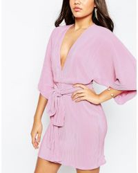 ASOS - Pink Plisse Pleated Mini Kimono With Belt Dress - Lyst