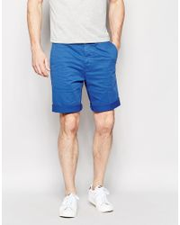 Edwin - Chino Shorts Rail Tapered Stretch Sateen Royal Blue Overdyed for Men - Lyst