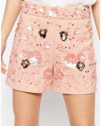 ASOS - Black Occasion Floral Embellished Shorts - Lyst