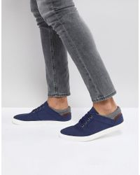 ASOS DESIGN - Blue Asos Lace Up Plimsolls In Navy Faux Suede With Warm Handle Cuff for Men - Lyst