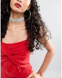 ASOS - Metallic Jewel Choker Necklace - Lyst
