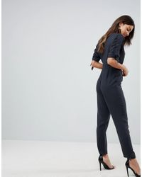 ASOS - Black Asos Jumpsuit With Wrap Front And D-ring Detail - Lyst