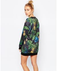 PUMA - Multicolor Sweat Dress With All Over Eco Print & Rose Gold Logo - Lyst