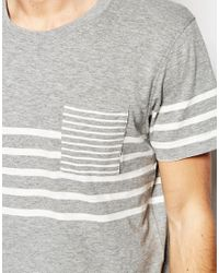SELECTED - Gray Breton Stripe T-shirt for Men - Lyst