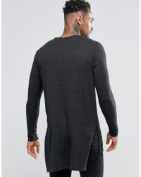 ASOS - Gray Longline Side Split Jumper In Charcoal for Men - Lyst