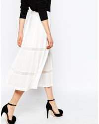 ASOS - White Premium Pleated Culottes With Sheer Inserts - Lyst
