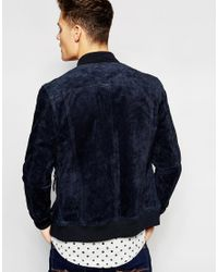 Esprit - Black Suede Bomber Jacket for Men - Lyst