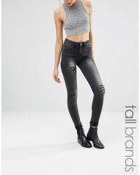 Noisy May Tall | Black Lucy Jean With Distressed Detail | Lyst