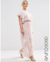 ASOS | Pink Ruffle Sleeve Maxi Dress | Lyst