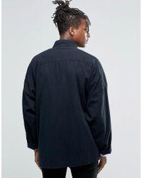 ASOS - Oversized Kimono Denim Shirt With Tie Front In Black for Men - Lyst