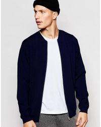 ADPT - Blue Knitted Zip Up Bomber for Men - Lyst