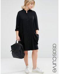 ASOS   Black Shirt Dress With Drape Pockets   Lyst