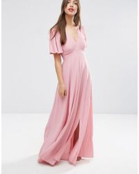 ASOS | Pink Pretty Maxi Dress With Ruffle Sleeve | Lyst