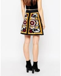 ASOS - Black Embroidered Mini Skirt With Lace Up Front - Lyst