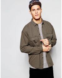 ASOS - Natural Denim Overshirt In Khaki With Long Sleeves for Men - Lyst