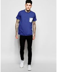 Stussy - Blue T-shirt With Camo Pocket for Men - Lyst