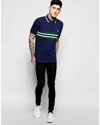 Stussy - Blue Polo Shirt With Chest Band Slim Fit for Men - Lyst