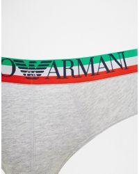 Emporio Armani - Gray Flag Logo Briefs for Men - Lyst